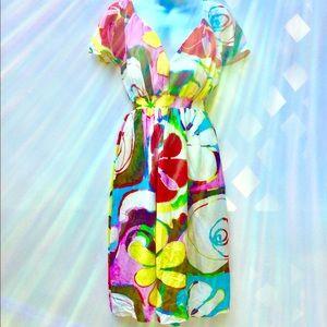 Jams World V-Neck Elastic Waist Dress Retro XL